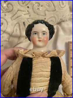 12.5 Antique German Pink Tint High Brow Civil War Era China Doll Antique Body