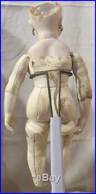 12 German Bisque Closed Mouth Bru Type Gebruder Kuhlenz Doll on Bru Body