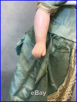 14-Inch Antique German Poured Wax doll Blue glass eyes Orig costume