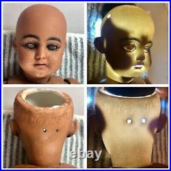 17 Antique German Bisque Head S & H 739 Beautiful Black Bebe Doll! Rare! 18019