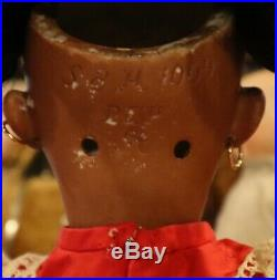 17 Antique German Bisque Simon Halbig Mold #1009 Rare Brown Complexioned Doll
