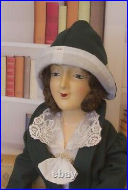 1920s Anita Bed Doll Brunette Green Wool Suit Antique German Boudoir Estate Doll