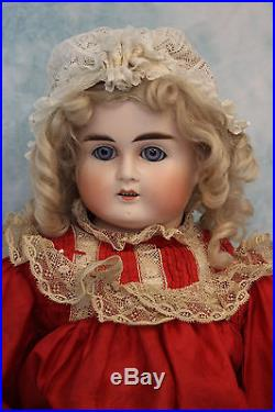 21inch Turned Head German Bisque ABG Doll Marked 10 circa 1880 Antique Dress