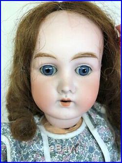 22 Antique German Bisque B4 Walking Body Blue Eyes Unbranded Work On Hands #S