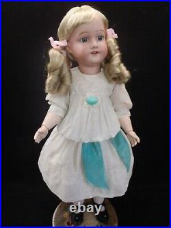 22 tall rare c1920 Morimura Dolly face bisque head doll in Antique dress