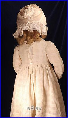 31 German Simon Halbig Kammer Reinhardt Bisque Doll Antique Dress & Bonnet