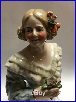 4.5 Antique German Porcelain Half 1/2 Doll Blonde Braids Flower Blouse #CC