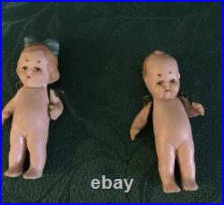 4 Antique Bisque Doll Lot German Grace S. Putnam 4 All Bisque Bye-Lo Baby + 3