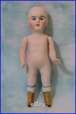 5 Inch Antique All Bisque Kestner 103 4 Doll Molded Yellow Boots Clean, clean