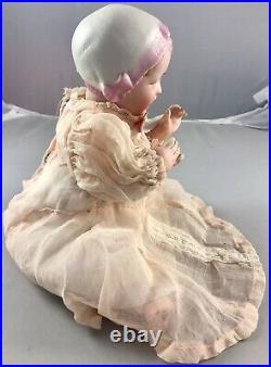 9 Antique German Bisque Head Bonnet Recknagel Baby Doll! Rare! Beautiful! 18090