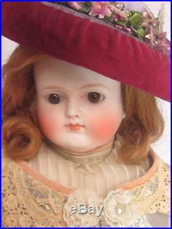 ABG Antique German BISQUE DOLL turned shoulder head CLOSED mouth ORIGINAL dress