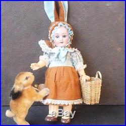 ANTIQUE BISQUE RABBIT DOLL ARMAND MARSEILLE c1915 IN ORIGINAL DRESS