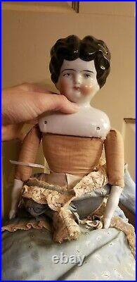 ANTIQUE GERMAN CHINA HEAD DOLL APPROX. 19 gorgeous dress