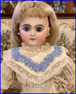 Antique 14 French Type Sonneberg Doll wOrig Body & Great Outfit & Mohair Wig