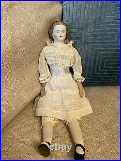 Antique 16 Alice In Wonderland Parian Doll With Rare Brown Hair Antique Clothes