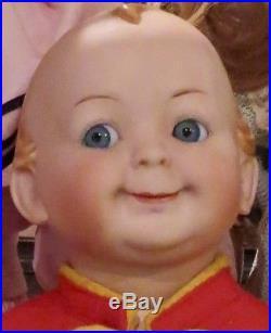 Antique 16 German Bisque RARE Hertel Schwab 172 Googlie Toddler Doll Perfect
