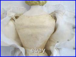 Antique 16 Parian Doll Orig. Leather Body Glass Eyes Beautiful Satin Dress