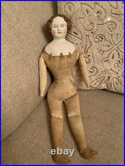 Antique 20 Rare Light Brown Hair Color Parian China Doll Cafe Au Lait High Brow