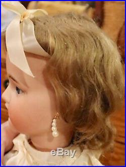 Antique 23 Beautiful German Bisque Doll by Franz Schmitt withOrig Mohair Wig
