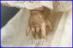 Antique 23 German Bisque CM Bergmann Doll with White Lace Dress Ball Jointed Body