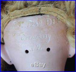 Antique 24 Simon & Halbig 1249 Original Wig with Antique Dress DEP size 12