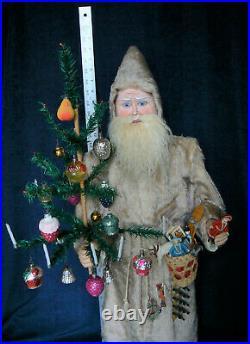 Antique 32 Clockwork Nodder Santa Bisque Head Glass Eyes Feather Tree Rare