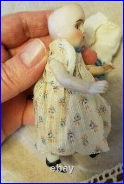 Antique 4 GERMAN All Bisque KESTNER 208 Doll GLASS SLEEP EYES Precious girl