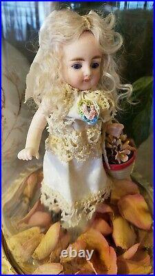 Antique 6 All Bisque EARLY GERMAN KESTNER Stiff Leg Doll COBALT BLUE GLASS EYES