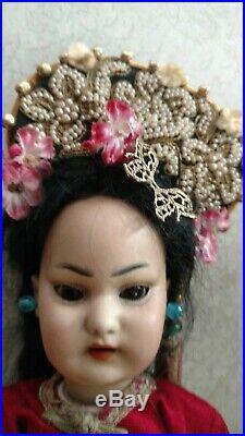 Antique Bisque Asian Doll 1129 Simon & Halbig 12 Original Body