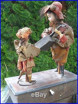 Antique Bisque Doll Automaton Gebrueder Kuehnlenz With Music Box Original Dress