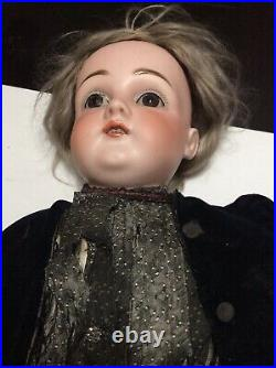 Antique Bisque doll glass eyes original dress & Shoes Leather Body German 23