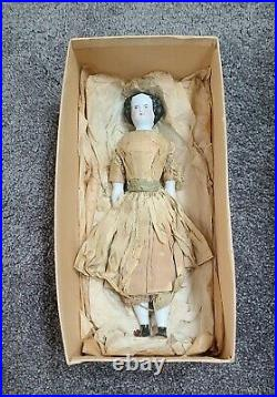 Antique China Doll German Civil War Era High Brow Original Outfit Dress 10.5