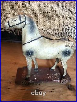 Antique GERMAN Putz HORSE Platform Pull Christmas TOY on Wheels DOLLS