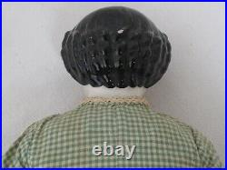 Antique German 19 Black Hair China Head c. 1860 Antique Green Gingham Clothes