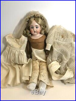 Antique German 22 Kestner 166 Bisque Head Bride Doll