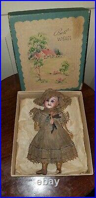 Antique German Bisque And Composition Miniature Dollhouse Doll Patriotic 6 1/4