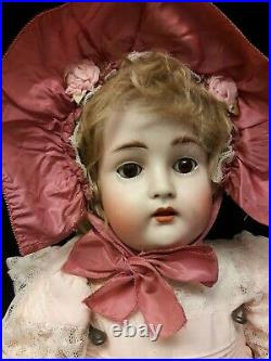 Antique German Bisque Doll With Open Mouth, Only Marked Made in Germany