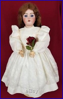 Antique German Bisque Head Doll Handwerck DEP 109 Jointed Body Stunning Blue Eye