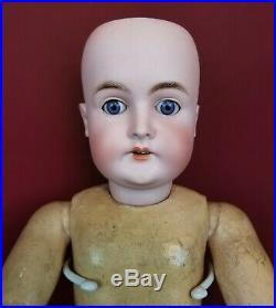 Antique German Bisque Head Doll Kart Hartmann 30 Blue Eyes 23.5 Dress This One