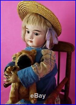 Antique German Bisque Head Doll Kley Hahn Walkure Brown Eyes Org Blonde Wig