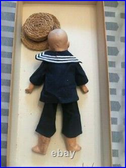 Antique German Bisque Heubach Boy Doll with Painted Eyes