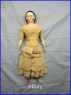 Antique German China Head Doll, with Brushstroked Bangs and Molded Hair Band