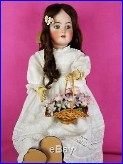 Antique German Doll Large Simon Halbig Blue Sleep Eyes Dk Brown Hair 30 in. CUTE
