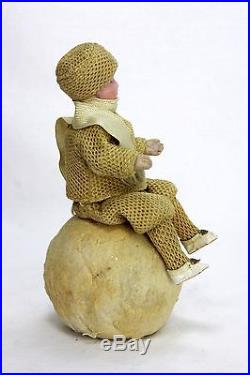 Antique German Heubach Rare Christmas Double Candy Container Child on Snowball