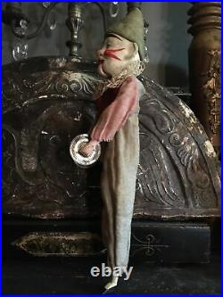 Antique German Mechanical Clown Doll Toy Plays Cymbals Opens Mouth Fine Details