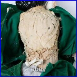 Antique German Porcelain Head Doll Cloth Body Leather Hands Feet 20 Green Dress