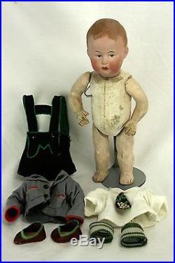 Antique German Unusual Heubach Character Boy Doll ca1910