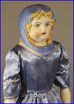 Antique German'blue Scarf' Parian Doll