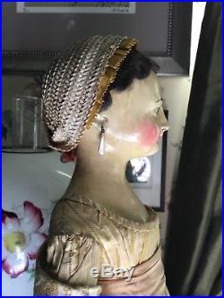 Antique Grand Early 19thc German Wooden Grodnertahl Doll