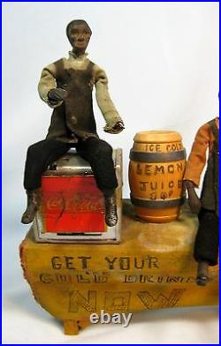 Antique Handmade Lemonade Stand with 4 Black Dollhouse Dolls Unusual Folk Art